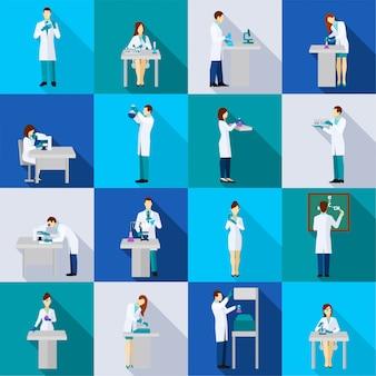 科学者のフラットアイコンは、化学実験室の人々と一緒に設定されています