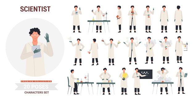 Scientist poses illustration set.