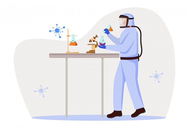 Scientist in protective suit flat vector illustration. studying medicine, chemistry. conducting dangerous experiment. man works with chemicals isolated cartoon character