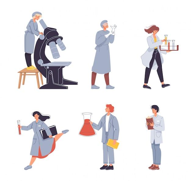 科学者、研究者、研究室助手セット