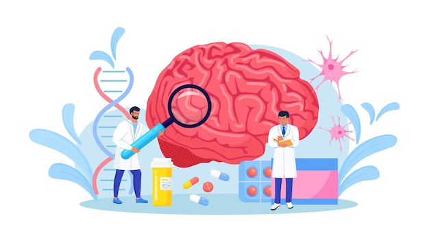 Scientist study human brain and psychology. doctor neurologist character examine huge organ and diagnosis controlled pills treatment. neurology disease diagnostics. treating headache, migraine.