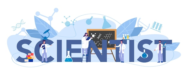 Scientist typographic header concept