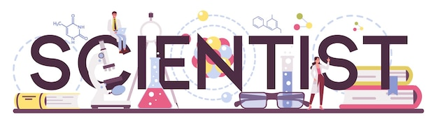Scientist typographic header. idea of education and innovation. biology, chemistry, medicine and other subjects systematic study.