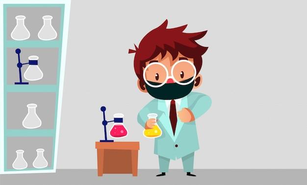 Ученый носит маску, делая свою работу, чтобы найти вакцину covid19