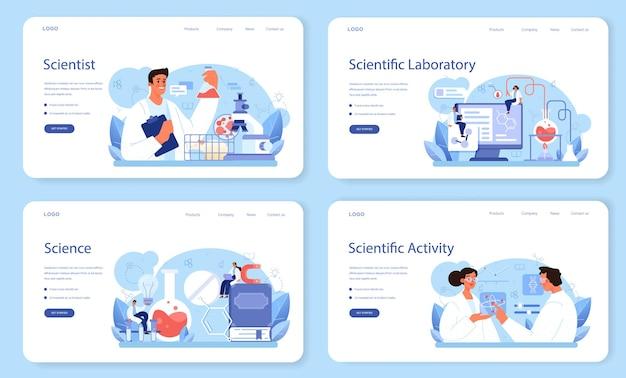 Ученый веб-баннер или целевая страница. идея образования и инноваций. систематическое изучение биологии, химии, медицины и других предметов. изолированная плоская иллюстрация