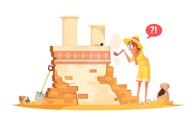 Scientist with brush during archaeological work illustration