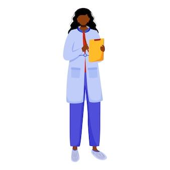 Ученый с буфером обмена и ручкой плоской иллюстрации. запись деталей эксперимента. документирование и описание. женщина в синем лабораторном халате изолировала мультипликационный персонаж на белом фоне