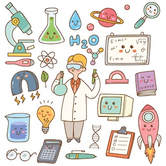Scientist with laboratory equipment cartoon