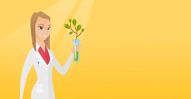 Scientist with test tube vector illustration.