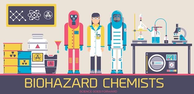 도구와 화학 실험실에 서 환경 보호 복에 두 남자와 과학자.