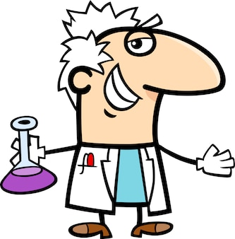 유리 병 만화 과학자