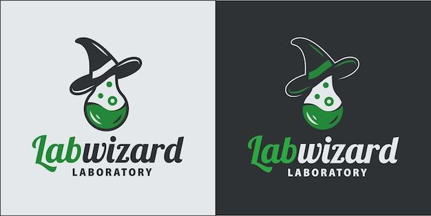 試験管付きの科学者ウィザード帽子。医学研究のロゴ