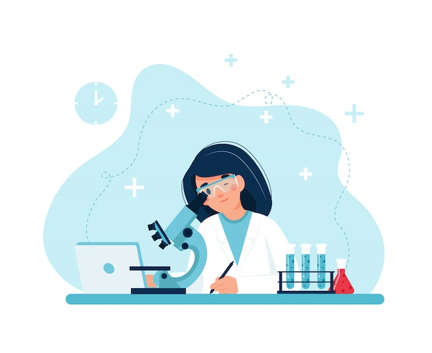 Scientist at work, female character conducting experiments with microscope.