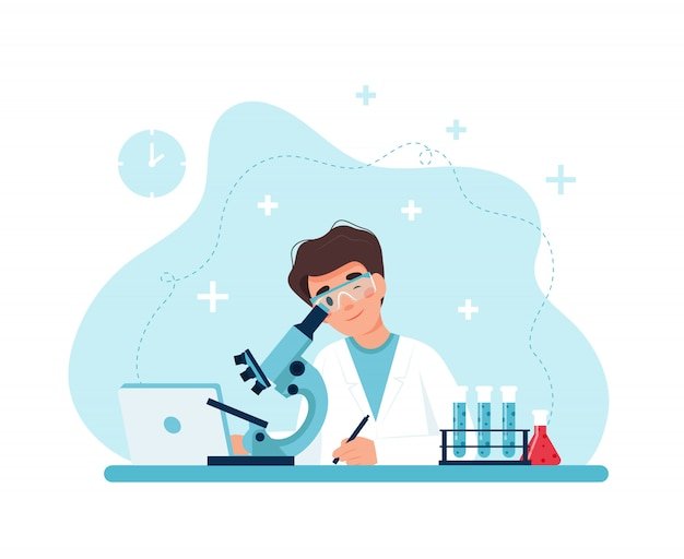 Scientist at work, male character conducting experiments with microscope.