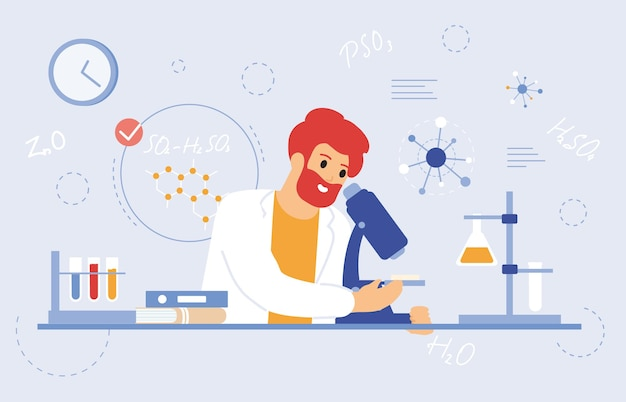 Scientist work with microscope. medical laboratory worker, scientific researcher with laboratory equipment vector illustration. laboratory pharmaceutical scientist. study character doctor laboratory
