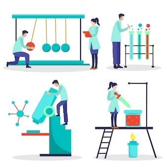Scientist working illustrated concept