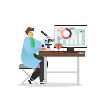 Ученый работает в медицинской лаборатории, плоская иллюстрация