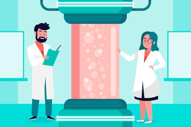 Ученый, работающий в научной лаборатории вместе