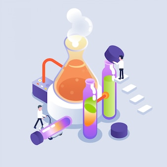 Scientist working in laboratory in isometric style