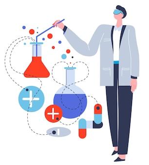 실험실에서 연구를 하는 과학자, 실험을 다루는 튜브와 물질을 가진 고립된 남성 캐릭터. 평면에 비커와 장비 벡터가 있는 의사 또는 제약 노동자
