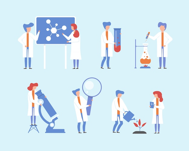 Scientist working, science research  illustration set, cartoon flat people, tiny character with lab microscope, magnifying glass scientific equipment