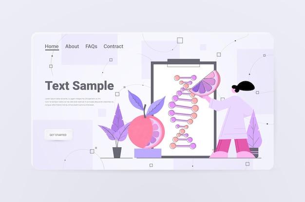 실험실 유전자 변형 과일 개념에서 실험을 만드는 오렌지 연구원의 dna로 작업하는 과학자