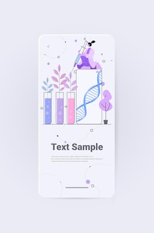 Scientist working with dna of plants in test tubes researcher making experiment in lab genetically modified plants concept