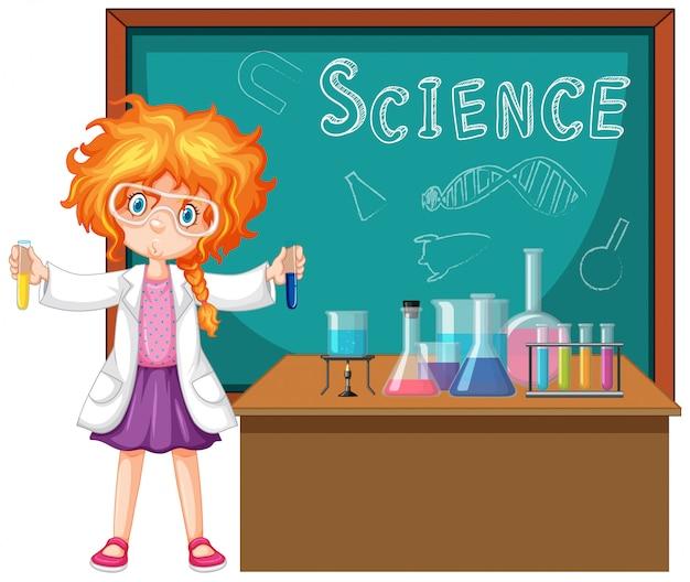 科学者が研究室で科学ツールを使用して Premiumベクター