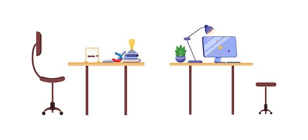 Набор плоских цветных объектов на рабочем месте ученого. стол исследования университета с компьютером. лабораторная рабочая станция изолированных мультфильм