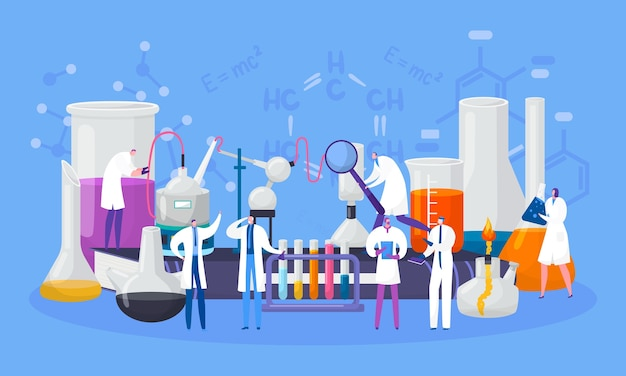 Scientists characters in chemical laboratory conduct experiment in science,  illustration. scientifical research, lab with flasks and microscopes, tubes. chemistry and biology, education.