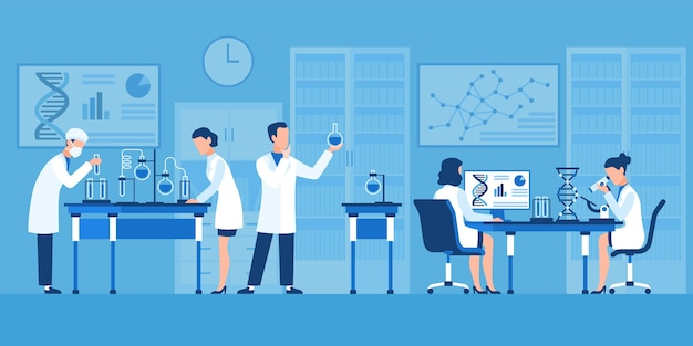 Scientists characters. chemists in pharmaceutical lab, research with medical equipment