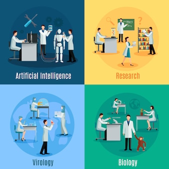 Scientists concept set with researchers in field of biology virology and artificial intelligence