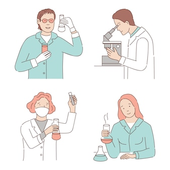 Scientists developing vaccine or making chemical or medicine analysis cartoon outline illustration.