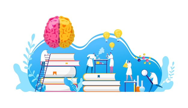 Scientists discovery research in chemistry, biology or medicine . brain science researching labaratory. scientifical research lab innovation. idea light bulbs and brain discoverers.