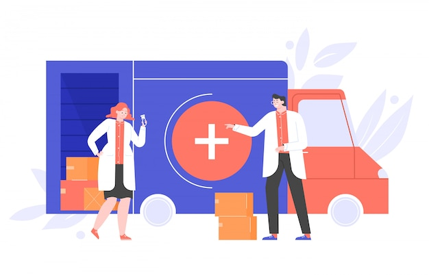 Scientists doctors characters near a truck with boxes of drugs. vaccine found from the virus. medicines delivery to pharmacies and home. flat illustration.