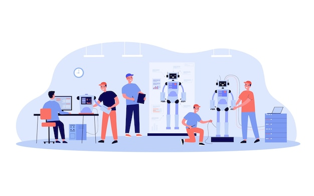 Scientists and engineers creating and constructing humanoid robots. people developing hardware for human machines.  illustration for robotic science, technology, invention concept