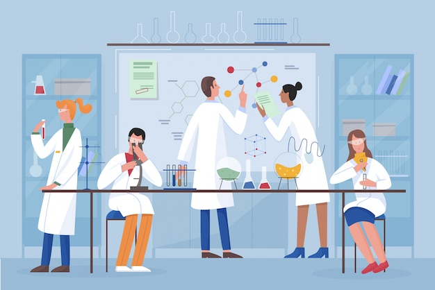 Scientists group team in science laboratory flat vector illustration. people doing research with laboratory equipment. drug development, science experiment.