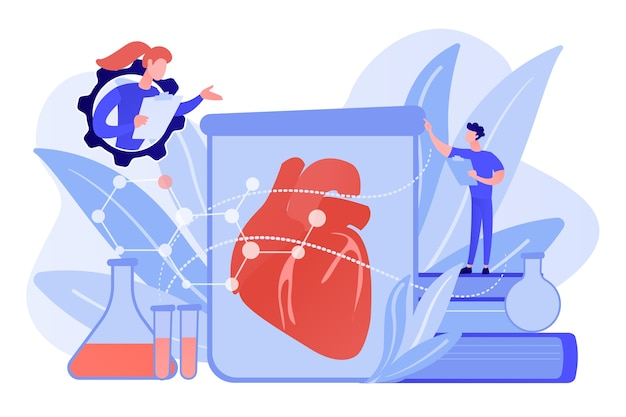 Ученые растут большое сердце в пробирке в лаборатории. выращенные в лаборатории органы, биоискусственные органы и концепция искусственных органов на белом фоне. розовый коралловый синий вектор изолированных иллюстрация Бесплатные векторы