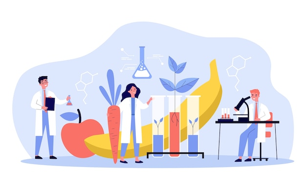 Scientists growing plants in lab, cultivating genetic modified vegetables and fruits, doing research.  illustration for biology, artificial food, agriculture concept