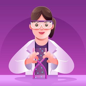 Dna 분자 디자인을 들고 과학자