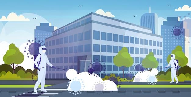 Hazmat의 과학자, 소독 코로나 바이러스 세포 전염병 메르 스 -cov 바이러스 우한 2019-ncov 유행성 건강 위험 현대 도시 거리 도시