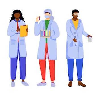 Ученые в халатах с плоским векторные иллюстрации.