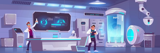 実験室の科学者は実験を行い、男性は人体冷凍保存または化学実験室で科学研究を行います