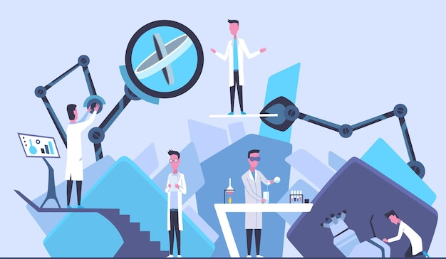 실험실에서 과학자. 연구를 만드는 실험실 개념의 남성. 흰 코트를 입은 사람들