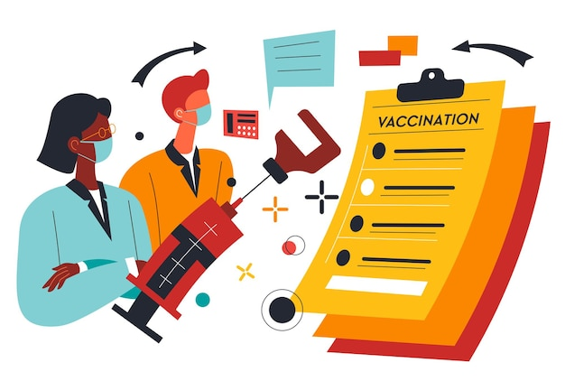 과학자들은 질병에서 새로운 신호를 발명합니다. 실험실에서 코로나바이러스의 새로운 치료 방법을 테스트하는 사람들. 액체를 확인하는 사람들, 경화 물질이 있는 주사기. 평면 스타일의 벡터
