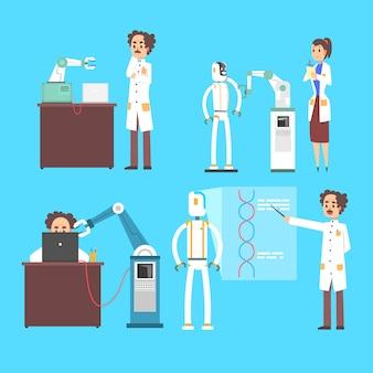 로봇 인공 두뇌 공학 산업 세트에서 과학자 발명, 파란색 배경에 인공 지능 개념 삽화