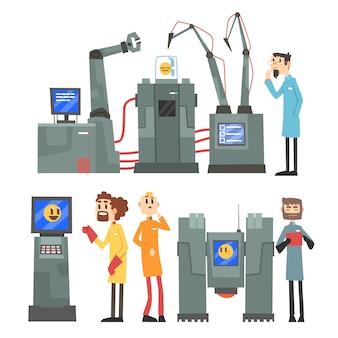 로봇 인공 두뇌 공학 산업 세트에서 과학자 발명, 흰색 배경에 인공 지능 요소 삽화