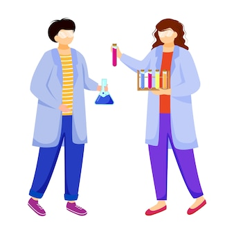 Scientists in lab coats flat vector illustration.
