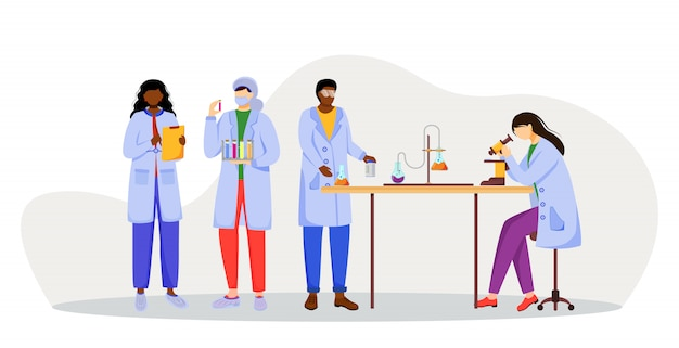 Scientists in lab coats   illustration. studying medicine, chemistry. conducting experiment. chemists with test tubes, microscope  cartoon characters on white background