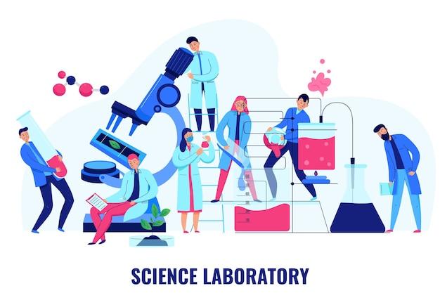 과학 실험실 평면 그림에서 생물학 및 화학 실험을 만드는 과학자